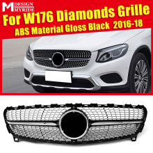 W176 Grille Diamonds ABS Material Black Without Sign Front Bumper Kidney Grills Fits For A180 A200 A250 Mesh 2016-18
