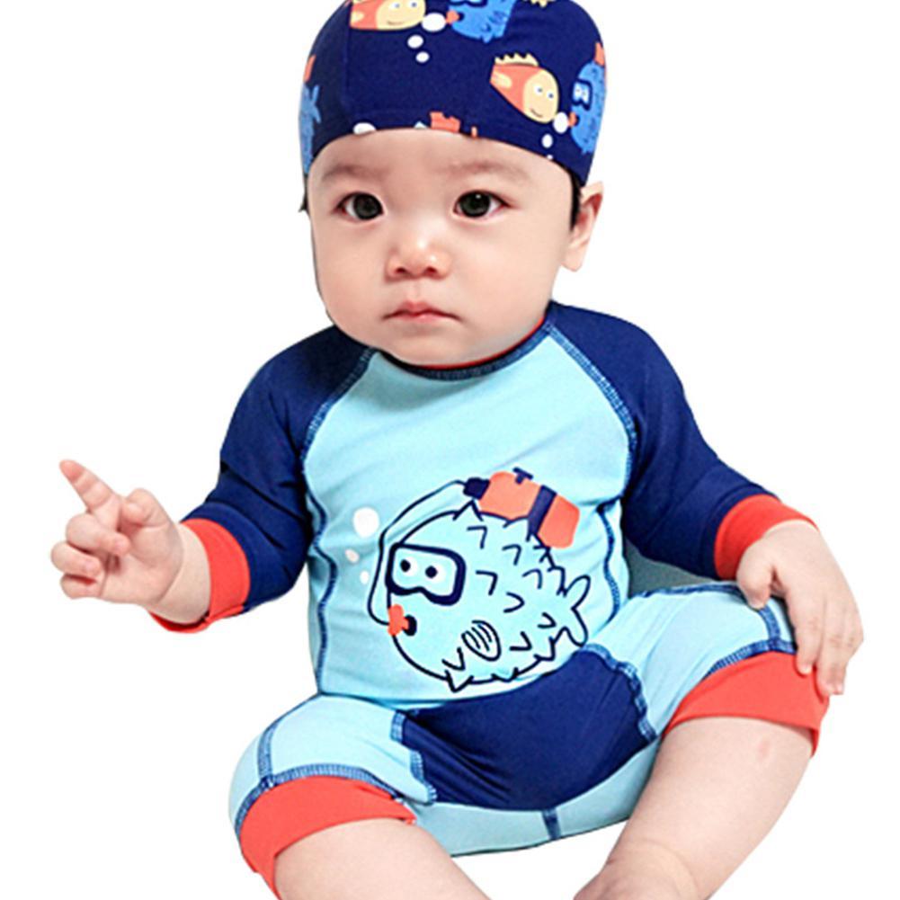 Kidlove 2018 Summer Kids Baby Boys Swimwear Cartoon Printing One Piece Swimsuit Suit With Cap Swimwear