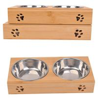Durable Stainless Steel Double Bowl For Cats Dogs Safe Dish Bamboo Tableware Set For Dogs Cats Pet Supplies High Quality