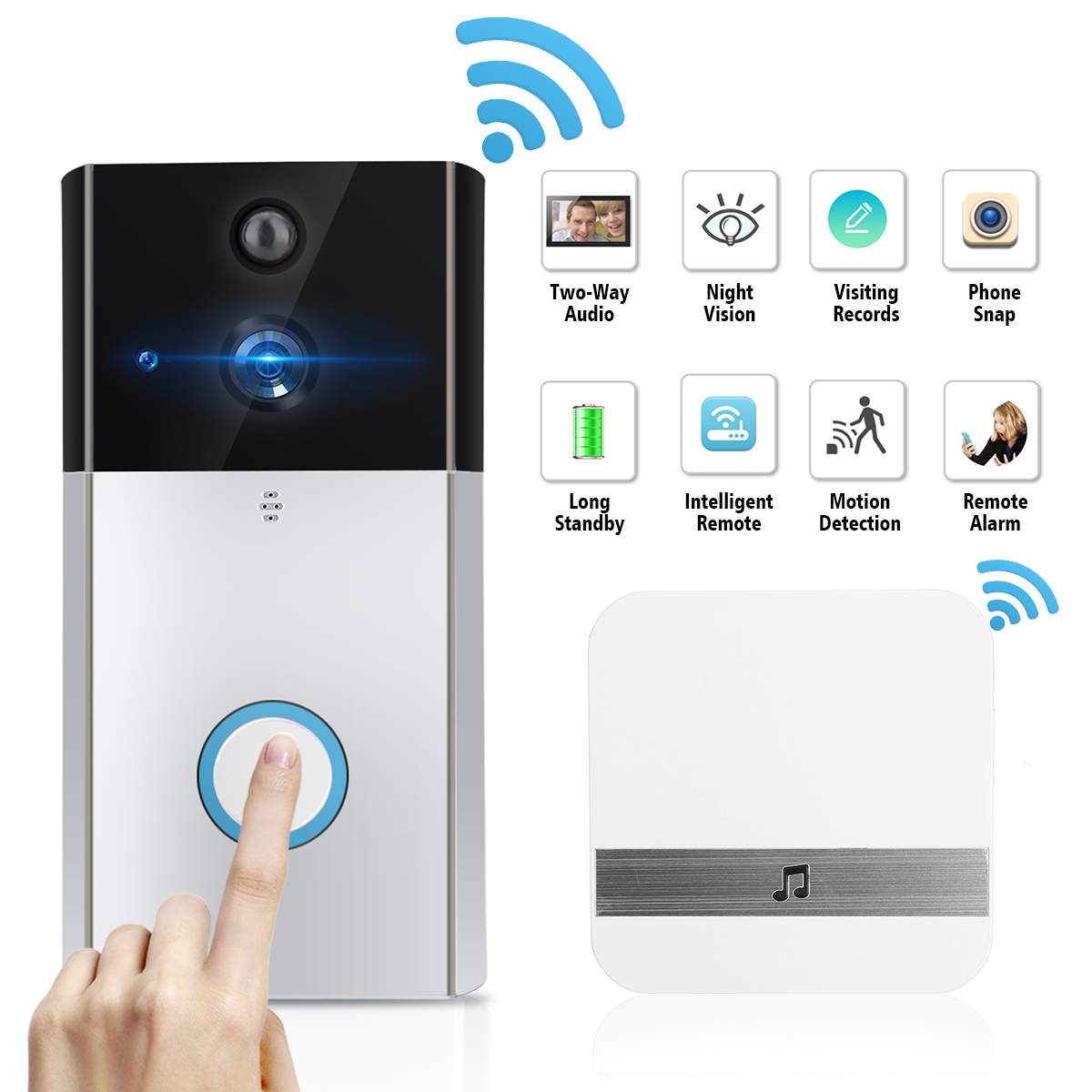 Wireless Video DoorBell Camera 720P HD Smart Intercom Home Security Ring WiFi Remote Phone DoorBell for
