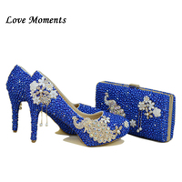 NEW Royal blue pearl wedding shoes and Bags SETS women's high heels platform shoes woman party Dress shoe with matching bag