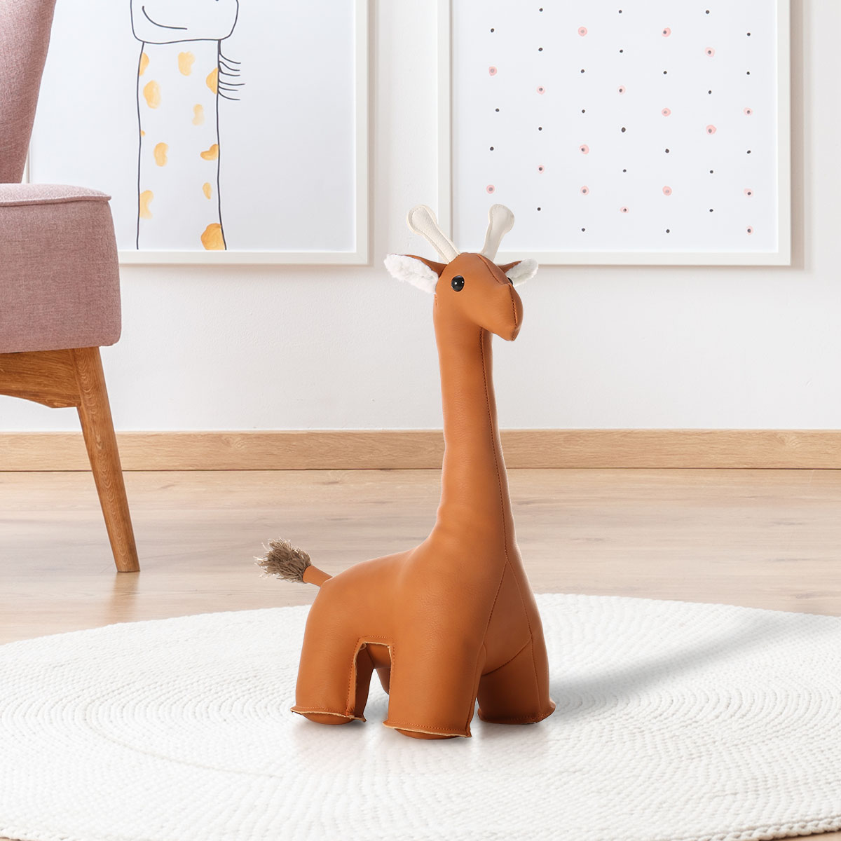 Tooarts Leather Giraffe Bookend Animal Gift Home Decoration Cute Animal Toy Bedroom Bathroom Door Stopper Animal