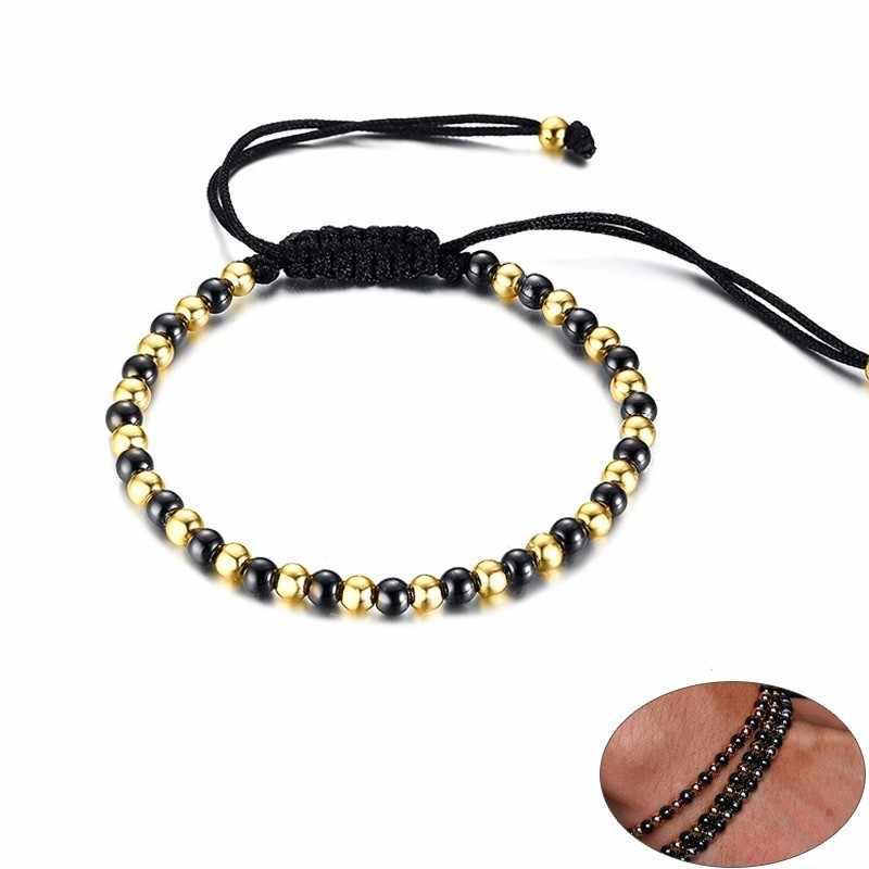 Sports Stainless Steel Beaded Bracelets for Women Man Handmade Braid Rope Size Adjustable pulseira masculina