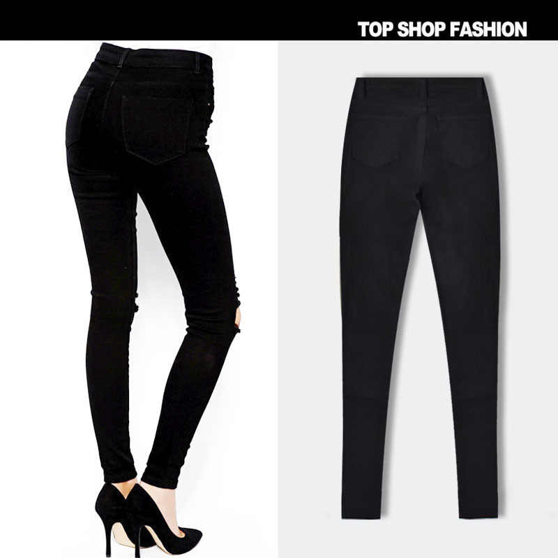 cf603015a663a ... Fetoo Black Ripped Jeans Women High Waisted Trousers Stretch Slim  Pencil Pants Skinny Fashion Denim Hole ...