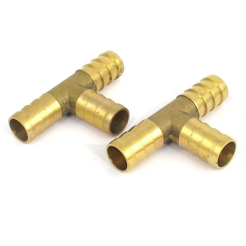 2Pcs Brass T-Shape 3 Way Hose Mounting Adapter Coupling Connector 12Mm Dmr