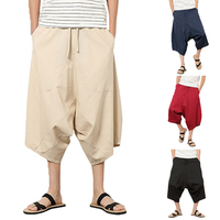Summer Men Pant Harem Calf Length Cotton Linen Elastic Waist Baggy Wide Legs Pants Big Crotch Loose Trousers HipHop Pants Hombre