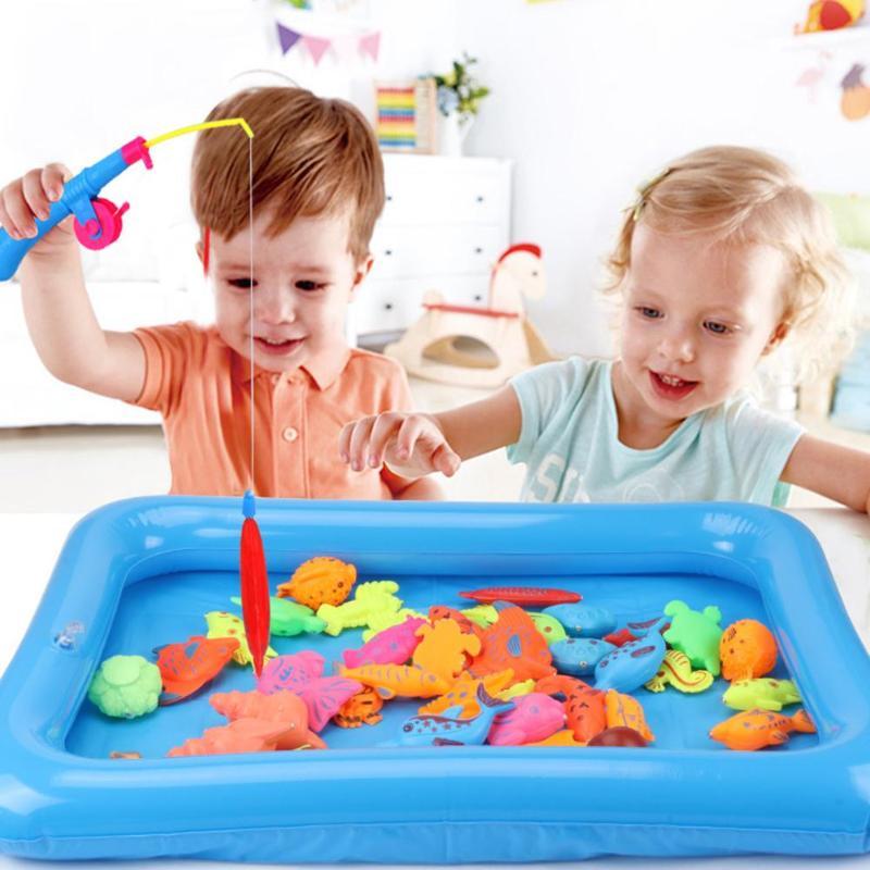 50 Stks/set Kids Magnetische Vissen Speelgoed Met Opblaasbaar Zwembad Baby Outdoor Water Spelen Vis Hengel Pak Kinderen Grappige Vissen Game Speelgoed Kan Herhaaldelijk Worden Omgedraaid.
