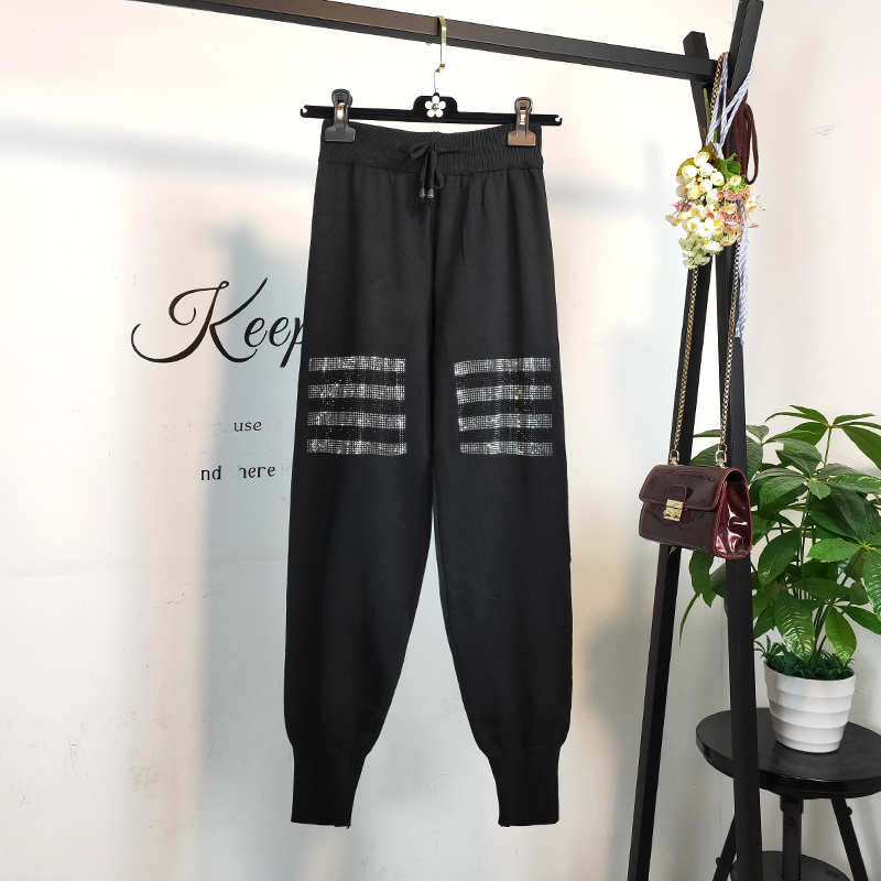 Hot Drilling Diamond Striped Women Jogger Pants 2019 England Style High Waist Harem Pants Spring Black Casual Knitted Sweatpants