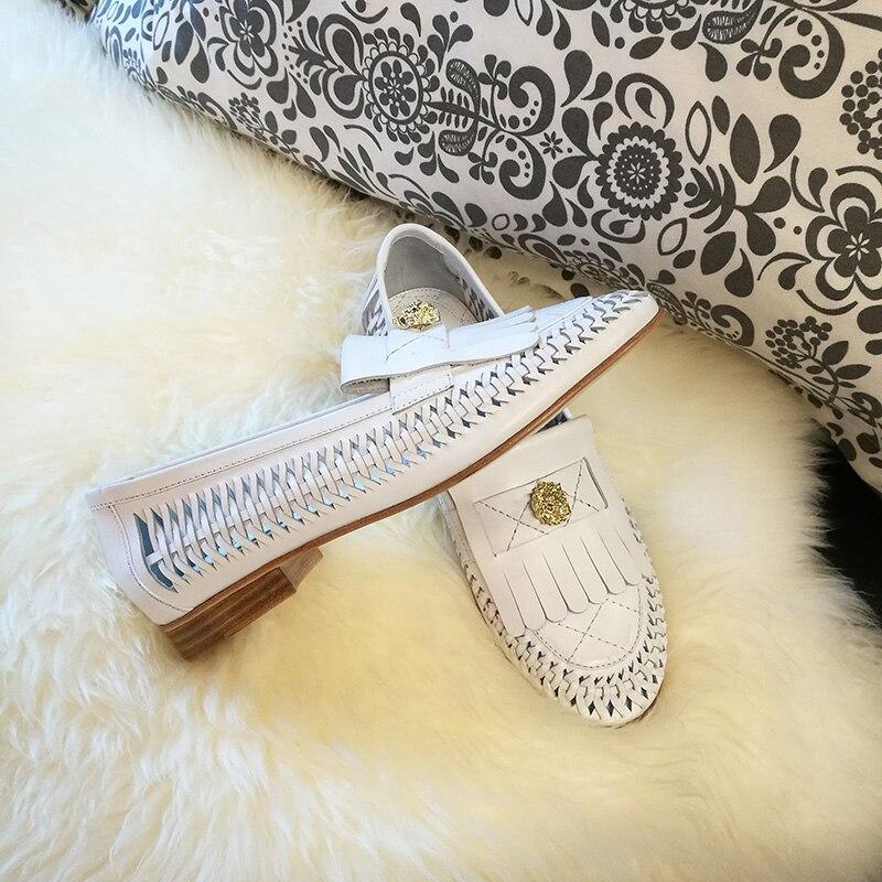 Genuino Blanco Mujeres Cuero Zapatos Flecos Mocasines Moda Casuales Las Hueco De Planos Mujer q6TBqpH