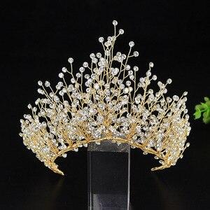 Image 2 - Big Luxury Hair Crystal Crown Rhinestone Headband Tiara Wedding Hair Accessories Bridal Headpiece Handmade Jewelry Girls Diadema