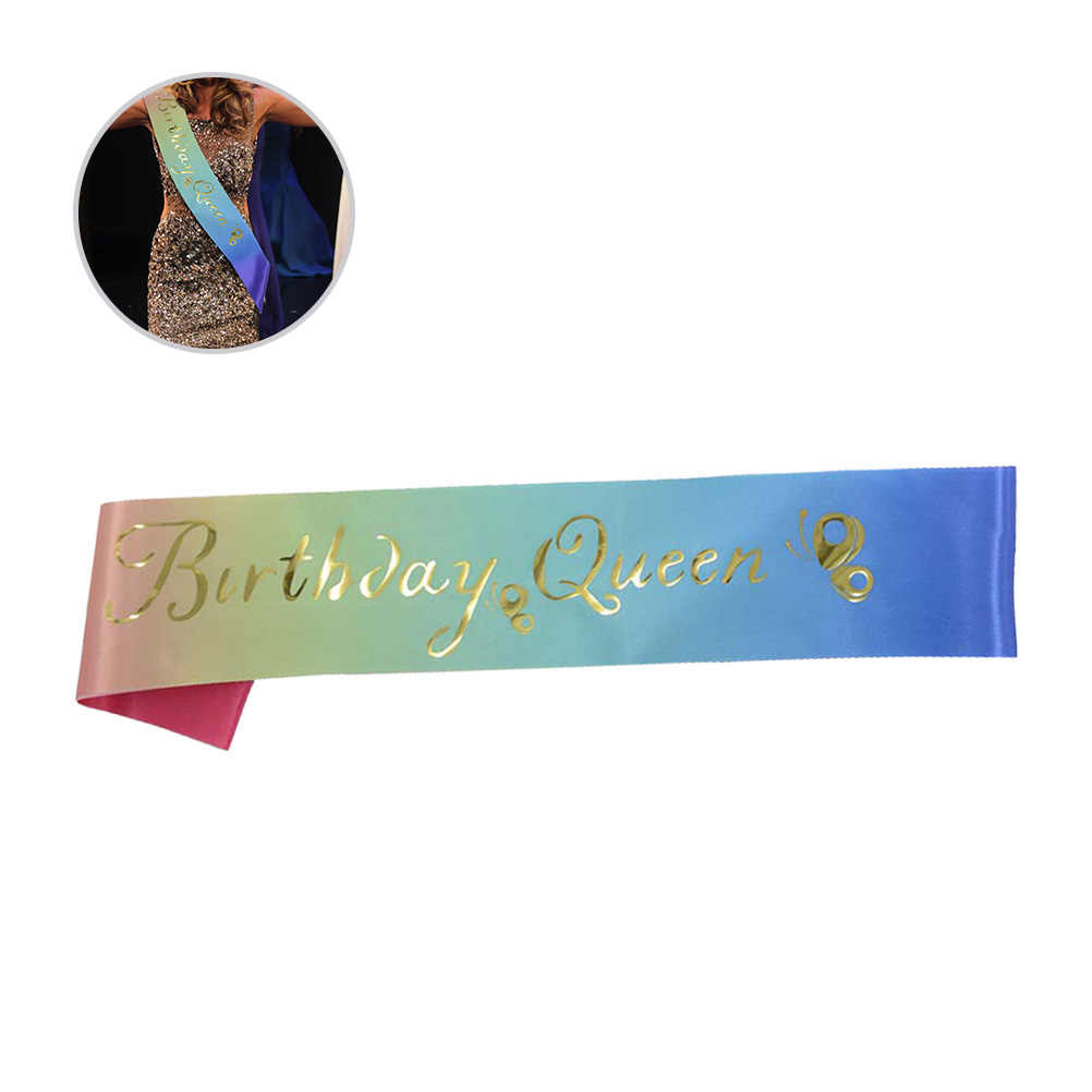 Colorful Birthday Party Sash Golden Queen Letters Etiquette Bands Butterfly Pattern Satin Decorations Accessories