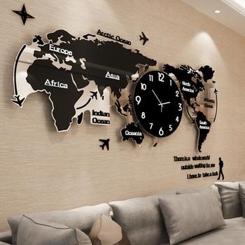 большие настенные карты | Большая карта мира настенные часы светящиеся современный дизайн для гостиной Светящиеся в темноте акриловые часы наклейки настенные часы ...