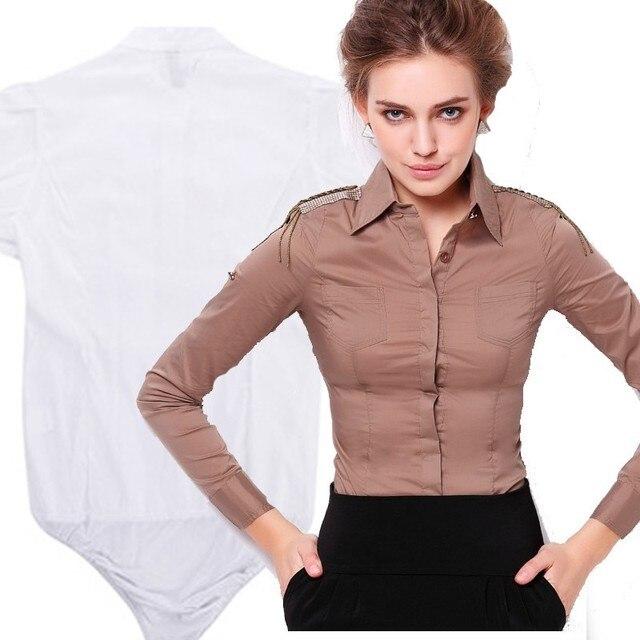 1de72c85f06 Women Slim Work Formal Ladies Office Shirt Female With Underpants Tops Long  Sleeve Bodysuit Chemise Femme Khaki Body Blouse
