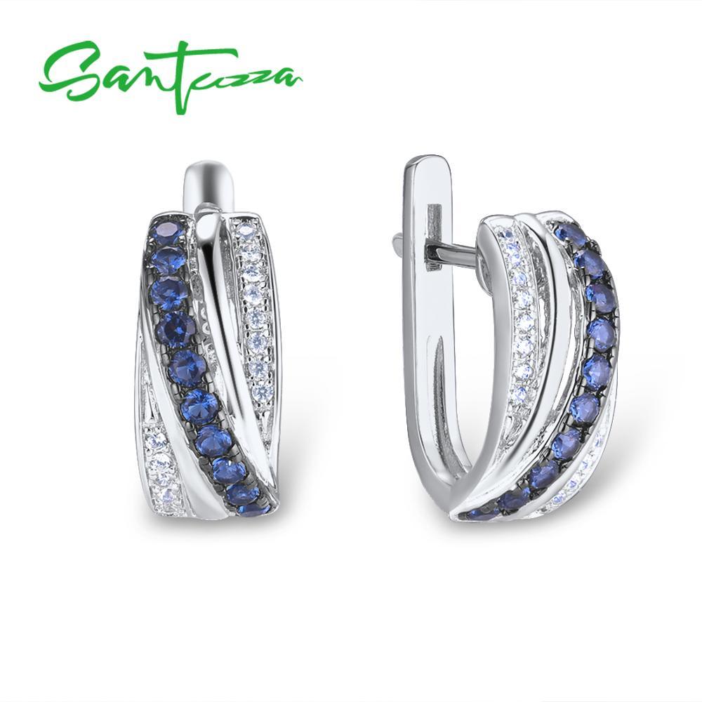 SANTUZZA Silver Earrings For Women 925 Sterling Silver Stud Earrings Blue Nano Cubic Zirconia brincos Elegant Fashion JewelryEarrings   -