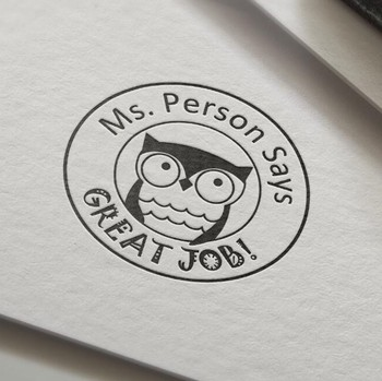 Great Job Teacher Stamp owl personalized custom name stamp self inking  for gift school assessment leather