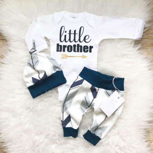Newborn Toddler Baby Boys Clothes Bodysuit + Pants + Hats Outfits Set