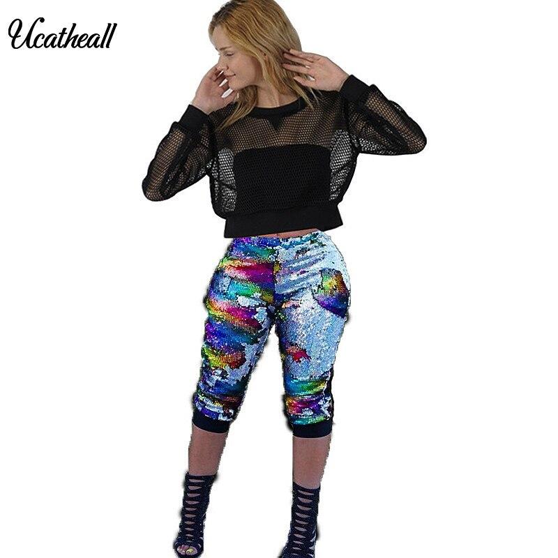 2018 Pantaloni Della Matita Paillettes Strada Hip Hop Scarni Di Estate Di Modo Streetwear Signora Delle Donne Punk Pantaloni Pantaloni Di Colore Variabile Chiaro E Distintivo
