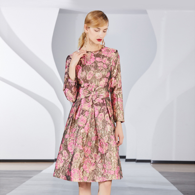 Designer Femme Femmes 2019 Longues Dames Imprimé Robes Vêtements Mini Floral De Luxe Manches Or Printemps Piste Parti Des Ceintures Robe NmnOv0w8