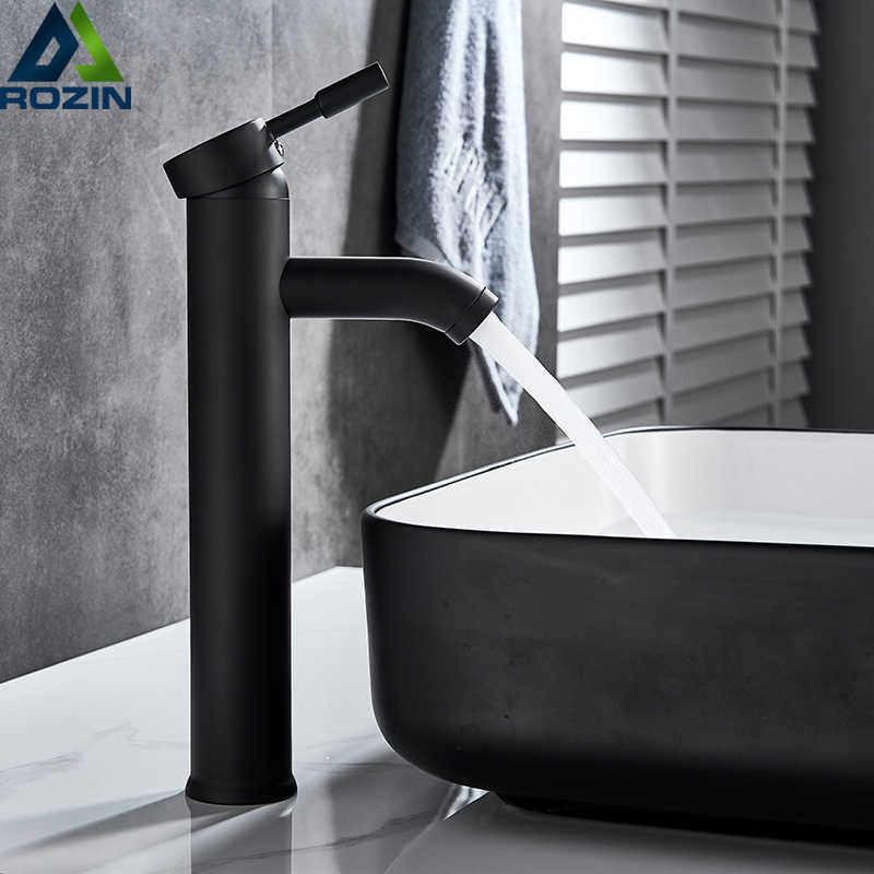 Matte Black Basin Sink Faucet Single Lever Hot Cold Water Tap Deck Mounted Brass Bathroom Mixers Single Hole Tap