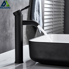 Rozin Matte Black Basin Sink Faucet Single Lever Hot Cold Water Tap Deck Mounted Brass Bathroom Mixers Single Hole Tap