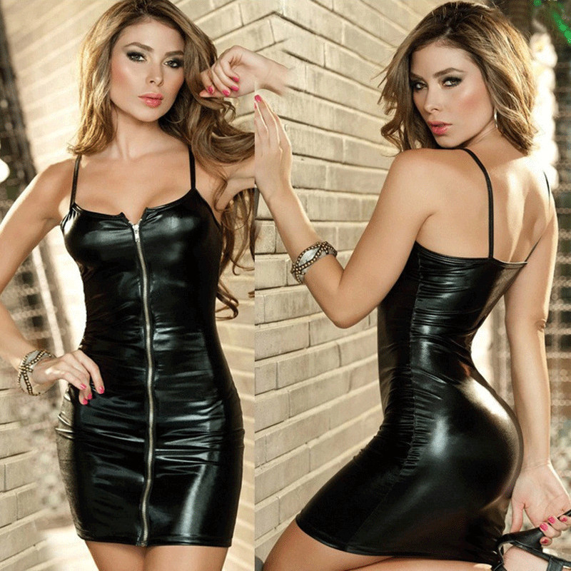 Erotic Sexy Lingerie Hot Women Erotic Dress Faux Leather Zip Clubwear Exotic Apparel Sex Bondage Costumes Underwear M-XXL image