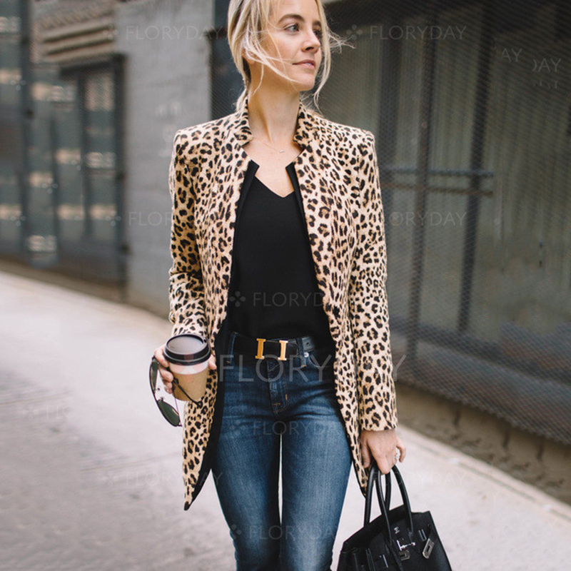 Fashion Women Autumn Leopard Print Coats and jackets elegant Winter Cardigan femme Ladies veste femme Streetwear dames kleding jeans con blazer mujer