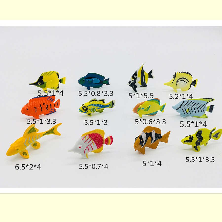 Simulação tropical peixe figura de ação jogo conjunto, mar criaturas marinhas, plástico mar animal mini educação precoce brinquedo peixe 12 pcs
