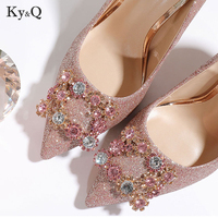 2018 New Pointed Diamond Sequined Square Button Buckle Fine heel High Heels Woman Wedding Party Shoes 10cm/8cm/6cm Heel Size