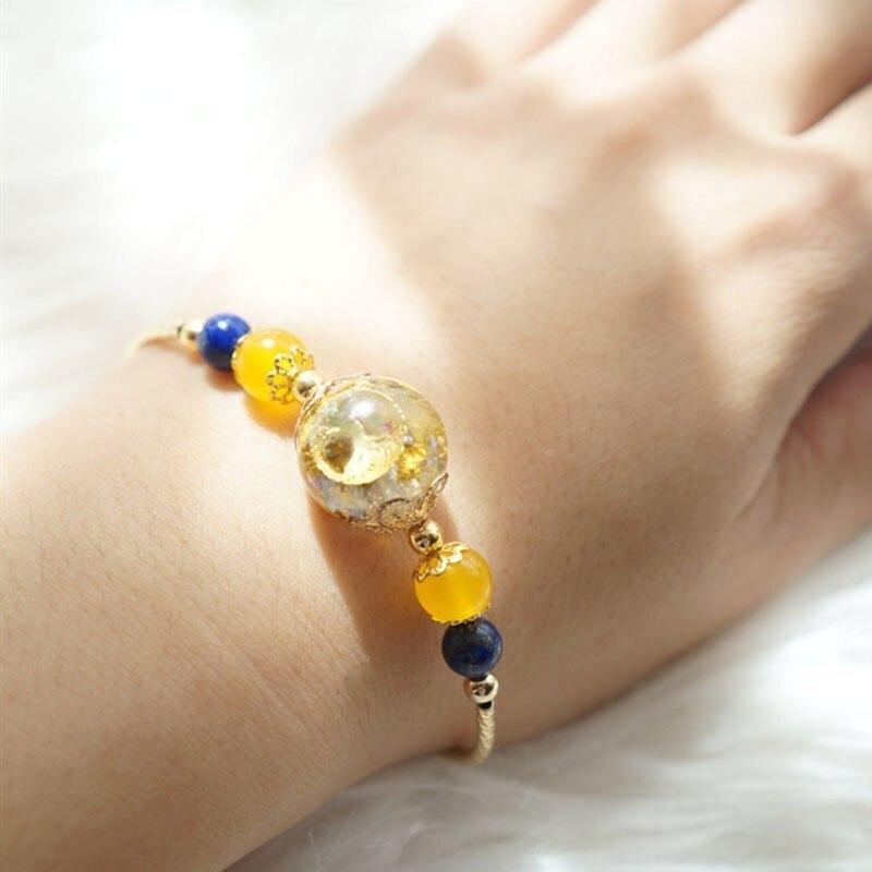 Orgonite Bracelet Radiation Protection Gold Crystal Open Chakra Natural Reiki Bracelet Yoga Jewelry Process Resin