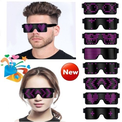 2019 8 Modes Led Glasses Light Up Glow Sunglasses Eyewear Shades For Nightclub Party Vision Glass