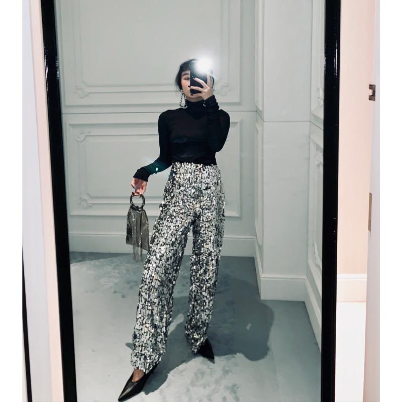 Mujeres Brling Q701 Mujer Lentejuelas Sequins Nueva 2019 Moda Silver Cintura La Largos Amplia Suelta Piernas Alta Las Pantalones Primavera De wYZATxZaq