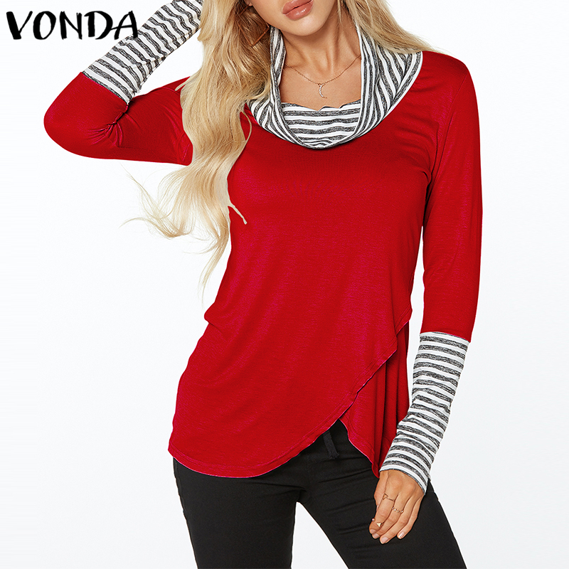 navy Tops Completa Jerseys Asimétrica Camisas red Otoño Empalme Alto Manga Suelto Vonda Blusas De Casual Rayas grey Mujer Cuello Black rose 2018 vqaUOnpxUw