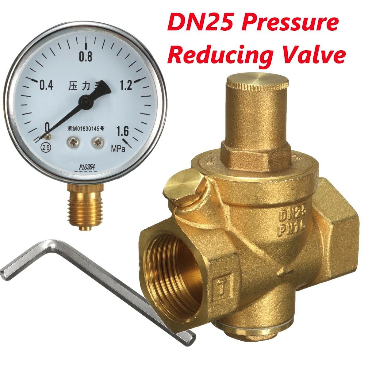 DN25 Brass Water Pressure Regulator with Gauge Water Flow Pressure Maintaining Valve Tap Water Pressure Reducing Valve