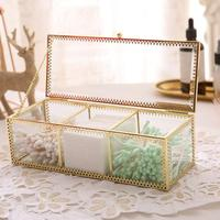 Retro Copper Edge Glass Makeup Cotton Case Lipstick Storage Box Transparent Gold Bronze Makeup Box Lipstick Holder