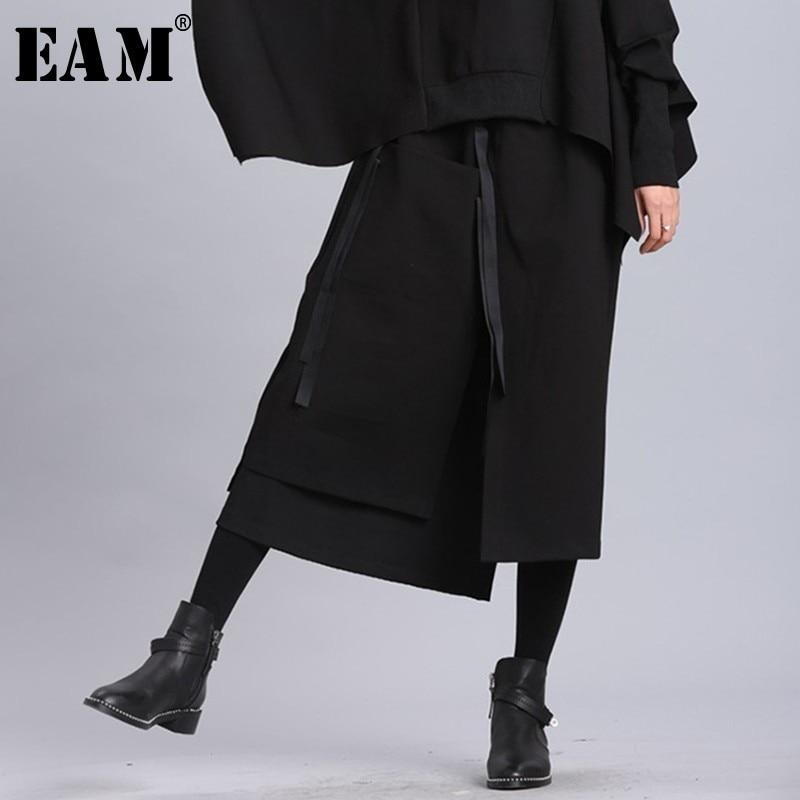 [EAM] 2019 New Spring Summer High Elastic Waist Black Ribbon Split Joint Loose Half-body Skirt Women Fashion Tide JL2330