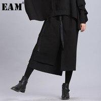 [EAM] 2019 New Spring Summer High Elastic Waist Black Ribbon Split Joint Loose Half body Skirt Women Fashion Tide JL2330