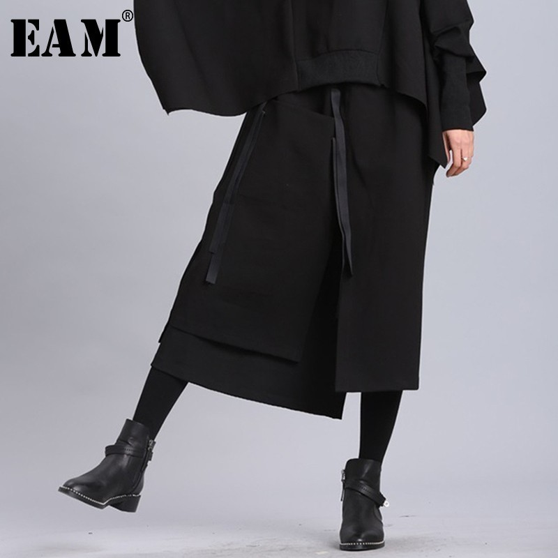 [EAM] 2020 New Spring Summer High Elastic Waist Black Ribbon Split Joint Loose Half-body Skirt Women Fashion Tide JL2330
