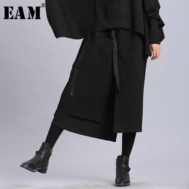 [EAM] 2020 New Spring Summer High Elastic Waist Black Ribbon Split Joint Loose Half body Skirt Women Fashion Tide JL2330