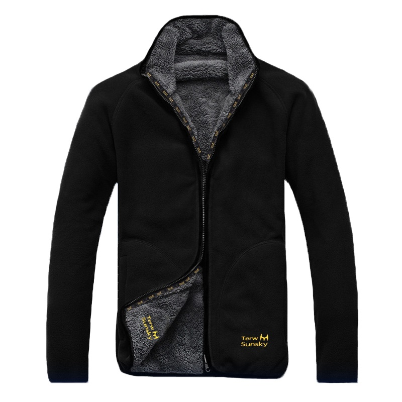 Winter Warm Polar Coral Fleece Men's Jacket Snowimage Windproof Thick Thermal Reversible Coat Male Plus Size Outerwear Clothes