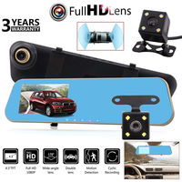 50Hz/60Hz Car Rear View Camera 4.3 HD 1080P Dual Lens Car Dash Cam DVR Rear View Mirror Video Camera Recorder