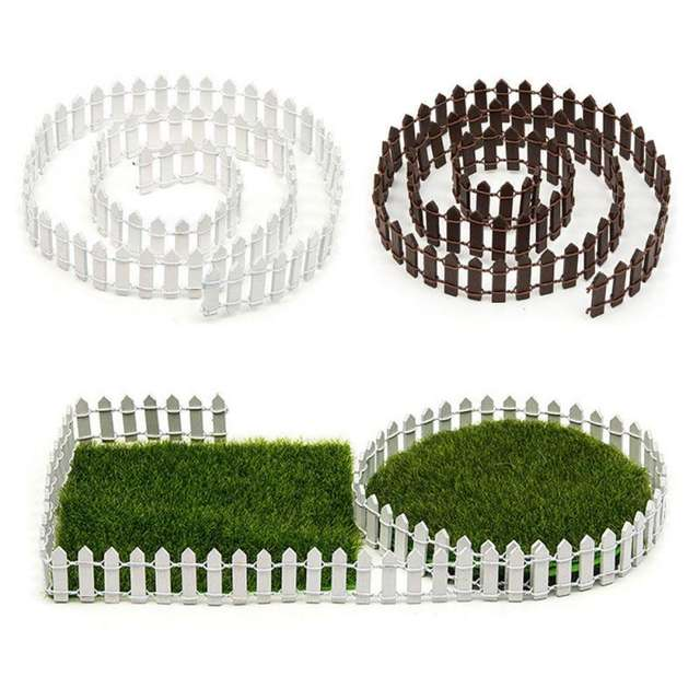 Miniature Wooden Fencing Decoration Ornament White / Coffee Colors