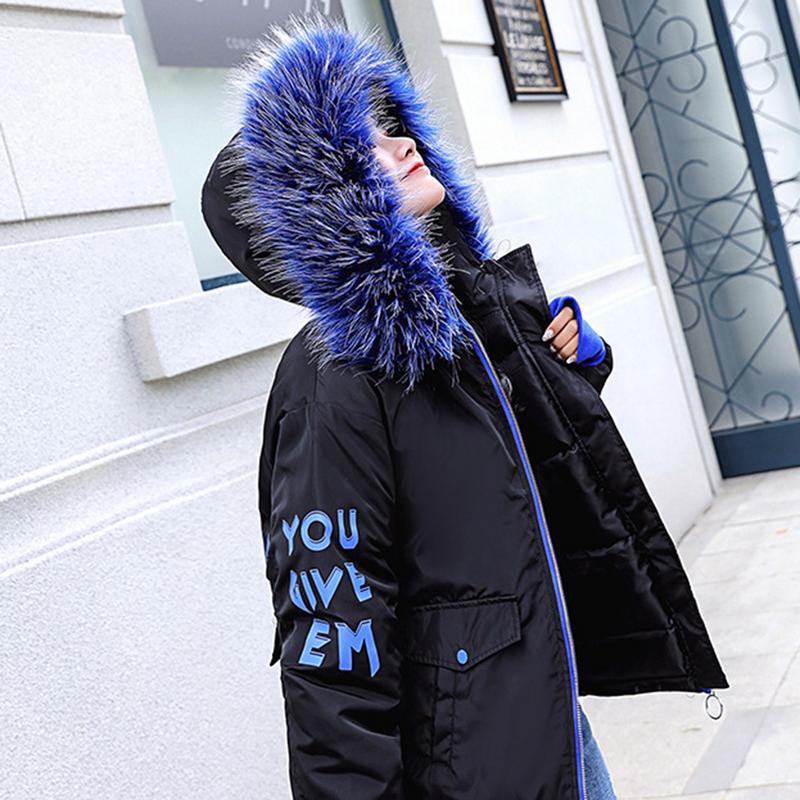 Women's Winter Jacket New Blue Zipper Long Sleeve Coat Fur Coat Short Down Jacket Female Cotton Padded   Parka   Hood