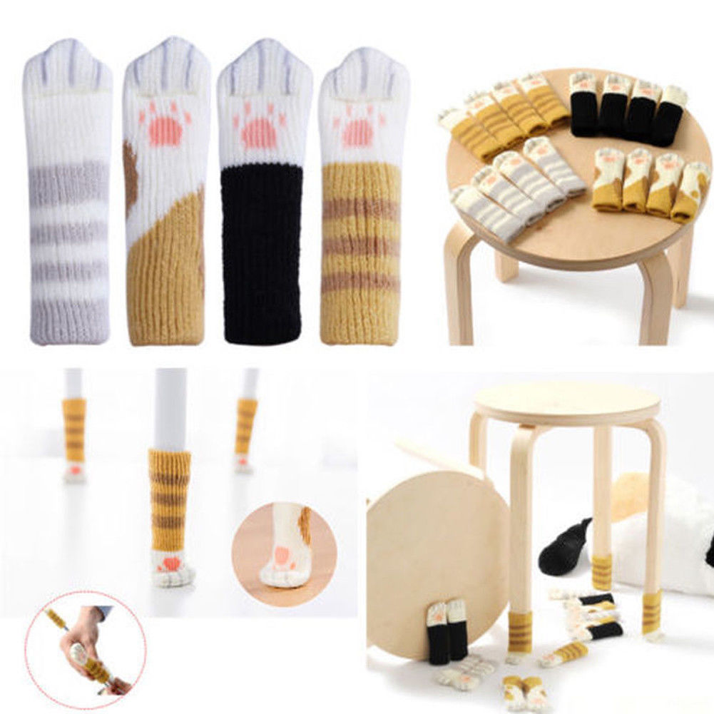 Floor Protector Chair Table Leg Socks Cat Paw Knitting Wool Furniture Cover Pads