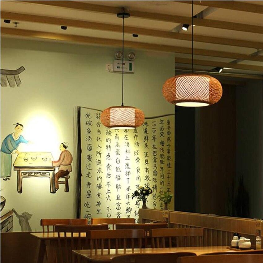 China Wood Pendant Lamps Hand Knitted Bamboo Rattan LED Pendant Lights Fixture Rustic Tatami Hanging Lamps Luminaria Dining