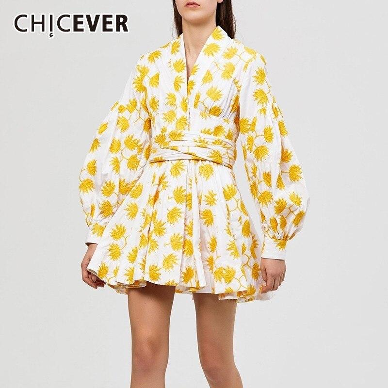 CHICEVER Summer Print Embroidery Women Dress V Neck Lantern Sleeve High Waist Lace Up Bow Mini