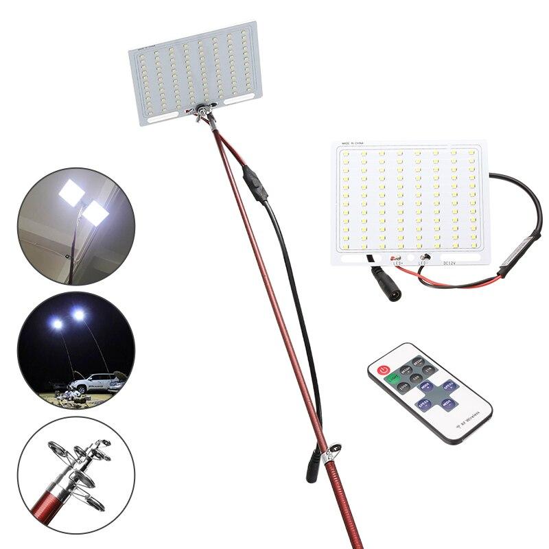 3.75 M 12 V télescopique LED canne à pêche lanterne extérieure lampe de Camping lumière pour voyage sur route auto-entraînement voyage avec télécommande