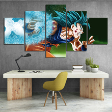 5 Piece Kakarotto Dragon Ball Super Anime Poster Goku Son Saiyan Blue Cartoon Wall Picture Canvas Paintings for Home Decor