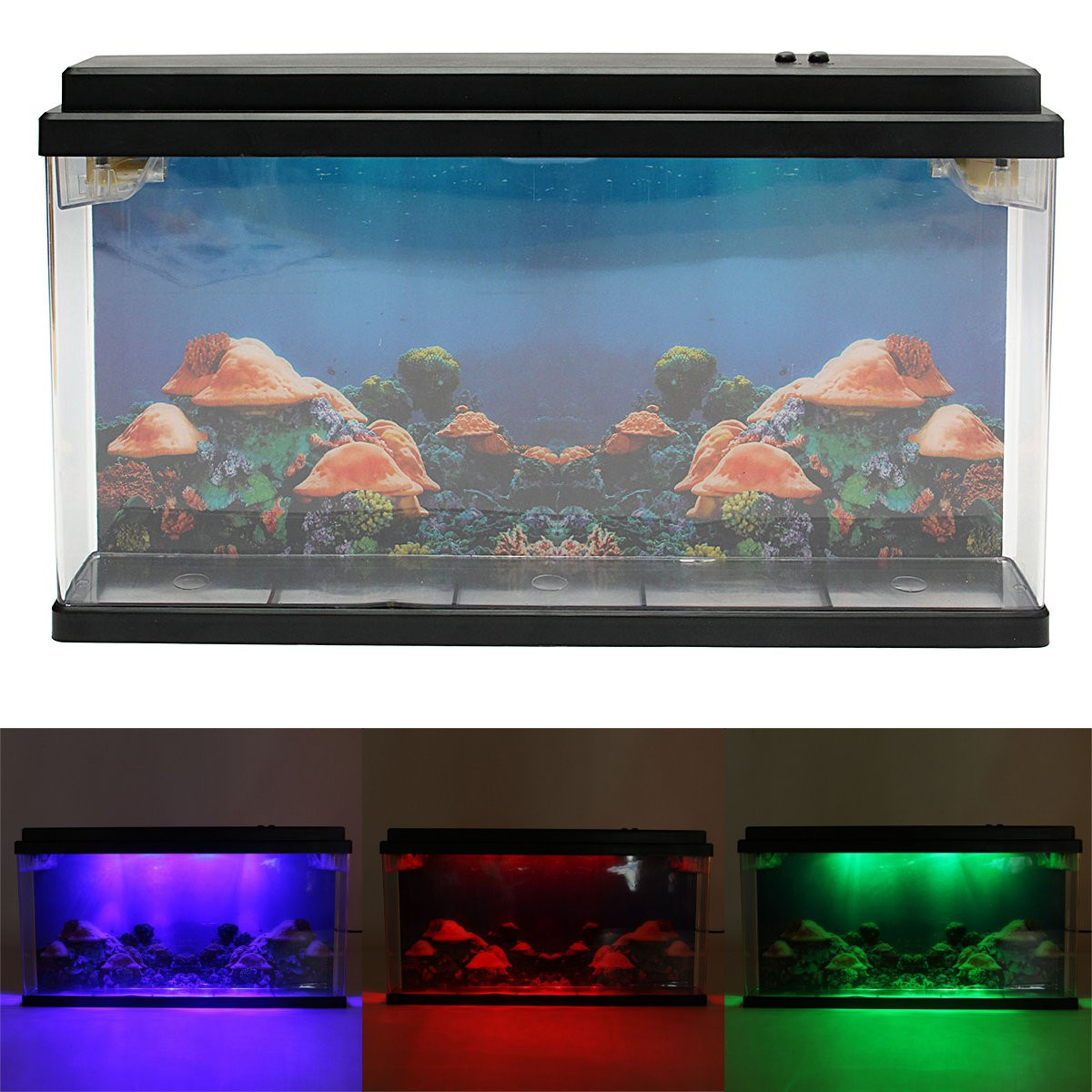 45x8x24 cm Méduses Deluxe LED Lumière Rougeoyante Aquarium Fish PetsTank Ménage Monde Sous-Marin Fond Décor À La Maison