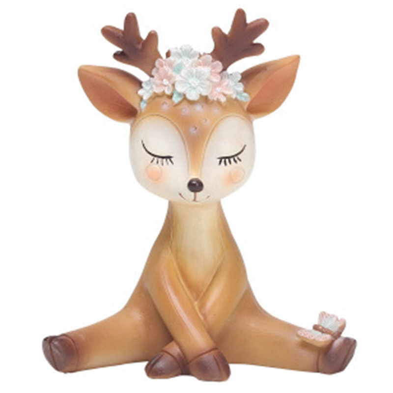 Home Cute Sika Deer Fairy Garden Miniatures Resin Crafts Animal Model Figurines For Home Office Car Decoration Ornaments Kids Gift Activating Blood Circulation And Strengthening Sinews And Bones