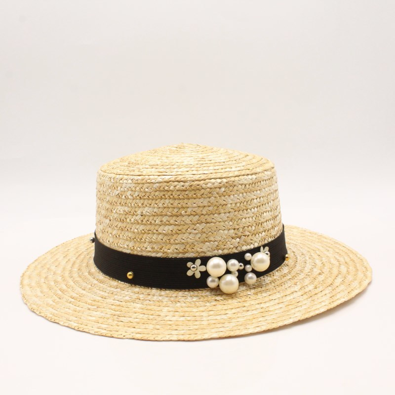 Women White Summer Hat Fashion Flat Top Boater Hats Beach Straw Hat Chapeu